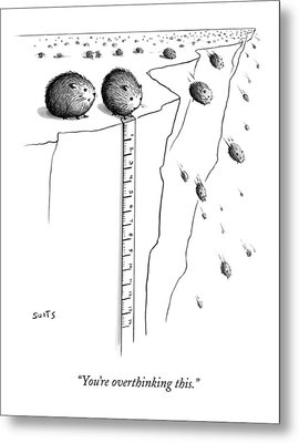 A Lemming Measures The Drop Off Of A Cliff Metal Print