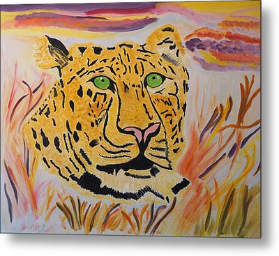 Metal Print featuring the painting A Leopard's Gaze by Meryl Goudey