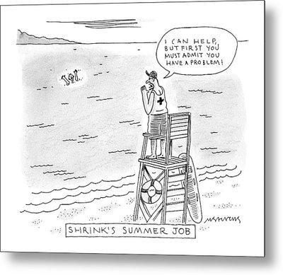 A Lifeguard Shouts At A Drowning Man Metal Print