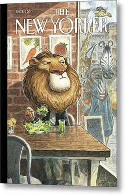 A Lion Eats At A Vegetarian Restaurant Metal Print by Peter de Seve