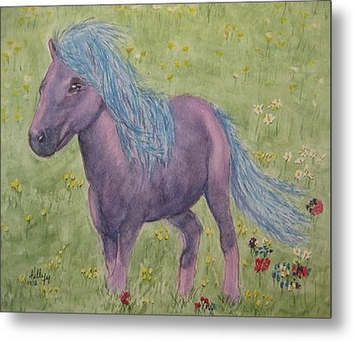 Metal Print featuring the painting A Little Girls Imagination Pony by Kelly Mills