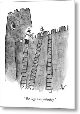 A Lone Medieval Soldier Climbs The Ladder Metal Print