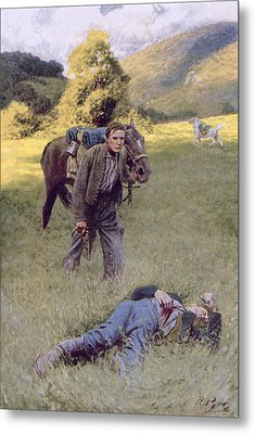A Lonely Duel In The Middle Of A Great Sunny Field, Illustration From Rowand By William Gilmore Metal Print by Howard Pyle