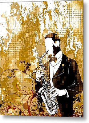 A Love For Sax Metal Print by Stanley Mathis
