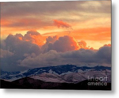 A Lovely Stormy Susnset Metal Print by Phyllis Kaltenbach