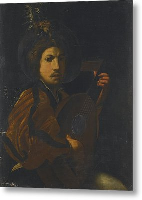 A Lute Player Metal Print by Celestial Images