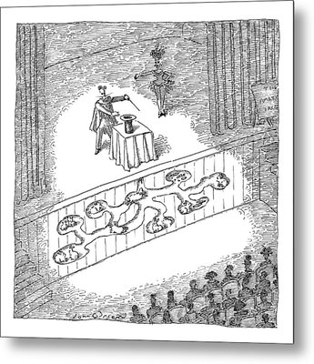A Magician Is Seen On Stage Metal Print