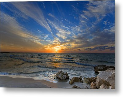 Metal Print featuring the photograph A Majestic Sunset At The Port by Ron Shoshani