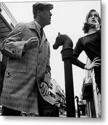 A Male And Female Model Posing On Chartres Street Metal Print by Chadwick Hall