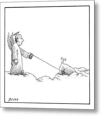 A Male Angel Walks His Dog On A Leash Across Some Metal Print