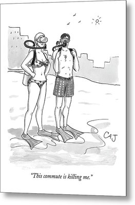 A Man And A Woman In Swimsuits And Diving Gear Metal Print by Carolita Johnson
