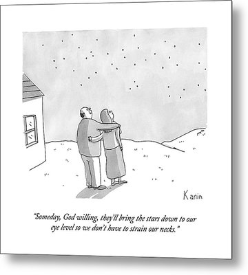 A Man And A Woman Look At The Stars On Their Lawn Metal Print