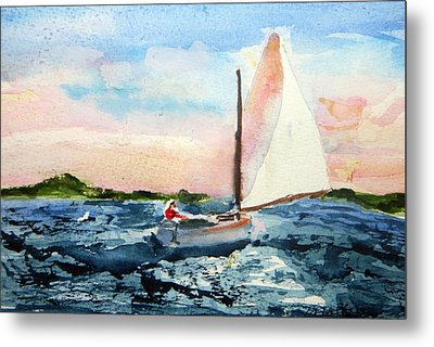 Metal Print featuring the painting A Man And His Boat by Michael Helfen