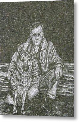 A Man And His Dog Metal Print by Dennis Pintoski