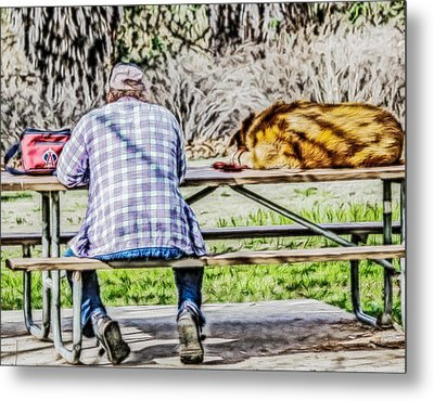Metal Print featuring the digital art A Man And His Dog by Photographic Art by Russel Ray Photos