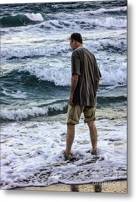 a Man and the Sea Metal Print by Ginette Callaway