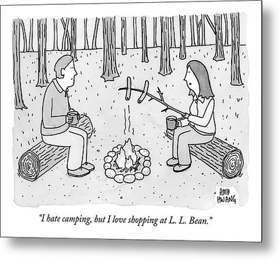 A Man And Woman Are Camping And The Woman Roasts Metal Print