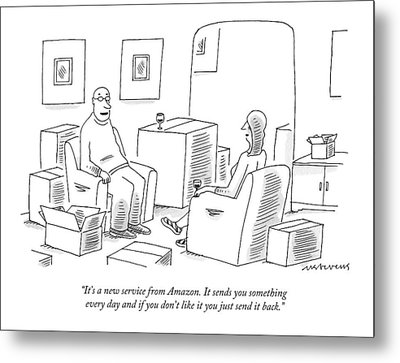 A Man Explains To His Wife In Their Living Room Metal Print