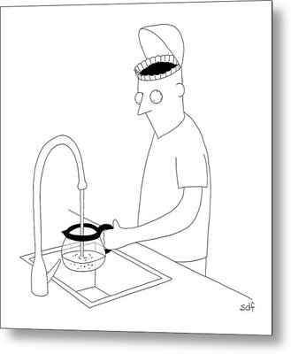 A Man Filling Up His Coffee Pot Metal Print