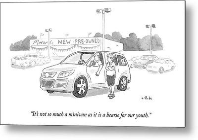 A Man In A Minivan Speaks To A Woman At A Car Metal Print