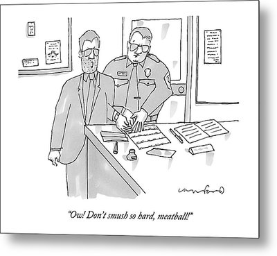 A Man In A Suit Gets Fingerprinted In The Police Metal Print by Michael Crawford