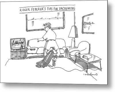 A Man In Tennis Clothes Vacuums With The Vacuum Metal Print