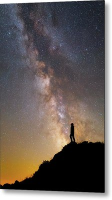 A Man On A Mountain Under The Milky Way Metal Print by Yuri Zvezdny