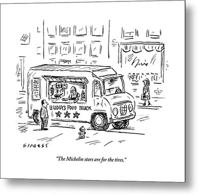A Man Operating A Food Truck Speaks To A Customer Metal Print
