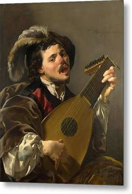 A Man Playing A Lute Metal Print by Hendrick ter Brugghen