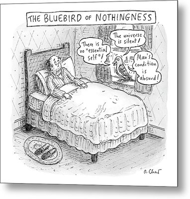 A Man Sits In Bed Metal Print by Roz Chast