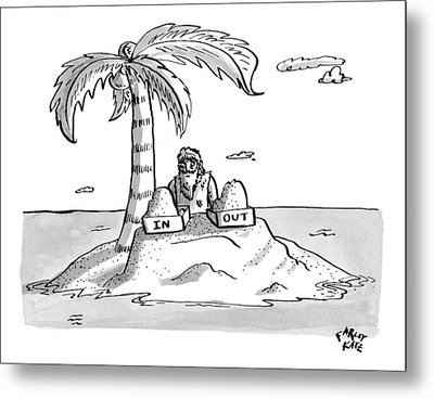 A Man Sits On A Deserted Island With Two Boxes: Metal Print