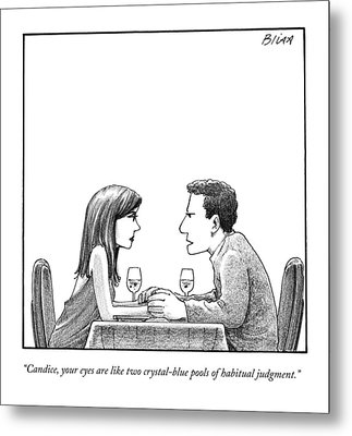 A Man Speaks To A Woman At A Restaurant Table Metal Print