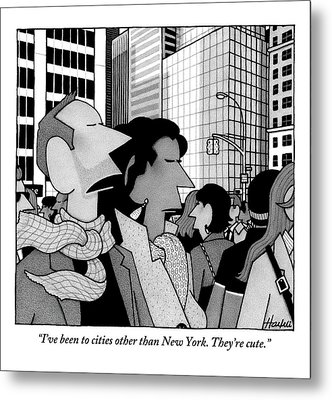 A Man Speaks To His Wife In The Midst Of New York Metal Print