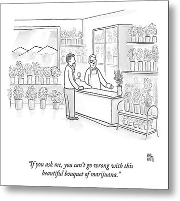 A Man Speaks With An Assistant At A Flower Shop Metal Print by Paul Noth