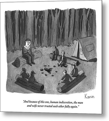 A Man Tells A Scary Story To Campers Metal Print