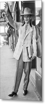A Man Wearing A Zoot-suit Metal Print by Underwood Archives