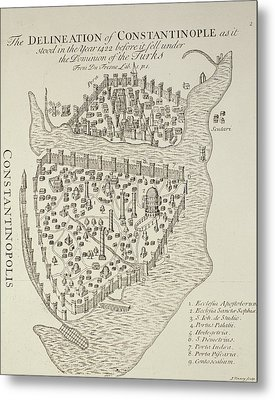 A Map Of Constantinople In 1422 Metal Print by Cristoforo Buondelmonti