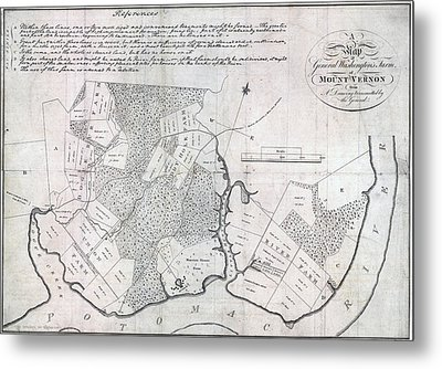A Map Of General Washingtons Farm Metal Print by Everett