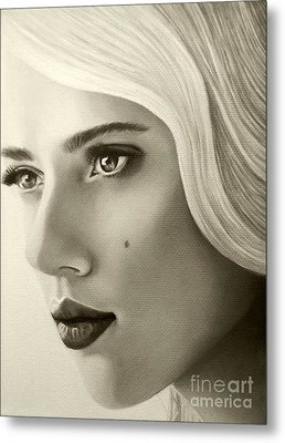 Metal Print featuring the painting A Mark Of Beauty - Scarlett Johansson by Malinda Prudhomme