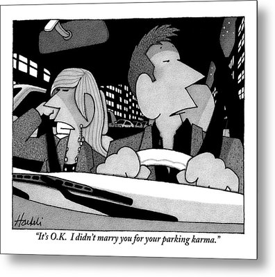 A Married Couple Are Seen In The Front Seats Metal Print