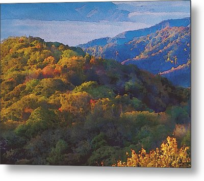 a Maxfield Parrish Autumn in the Smokies Metal Print by Philip White