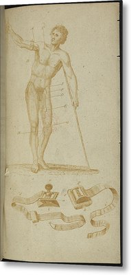 A Medical Diagram Of A Naked Man Metal Print by British Library