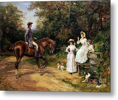 A Meeting By A Stile  Metal Print by Heywood Hardy