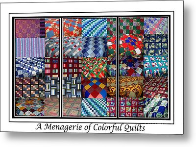 A Menagerie Of Colorful Quilts Triptych Metal Print by Barbara Griffin
