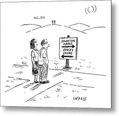 A Middle-aged Couple Stand At A Road Sign Metal Print