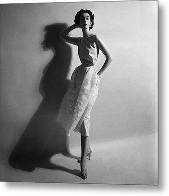 A Model In A Sheath Dress Metal Print by Cecil Beaton