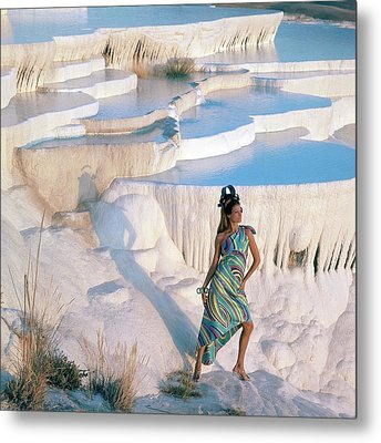 A Model On The Cliffs Of Pamukkale Metal Print by Henry Clarke