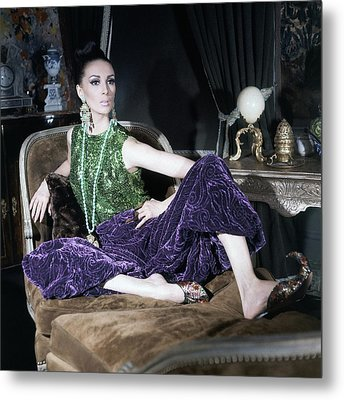 A Model Wearing A Glittery Top And Velvet Pants Metal Print by Horst P. Horst