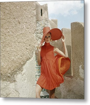 A Model Wearing A Orange Dress Metal Print