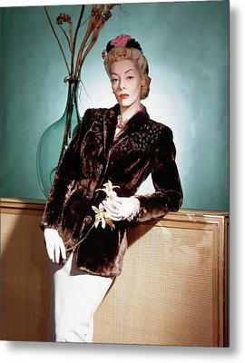 A Model Wearing A Sealskin Jacket Metal Print by Horst P. Horst